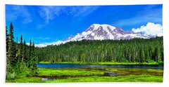 Mt. Rainier From Reflection Lakes Bath Towel