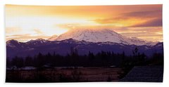 Mt. Rainier On Fire Bath Towel