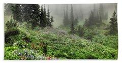 Mt Rainier Wildflowers Bath Towel