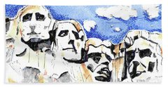 Hand Towel featuring the painting Mt. Rushmore, Usa by Terry Banderas