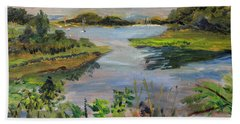 Bath Towel featuring the painting Mud Cove by Michael Helfen