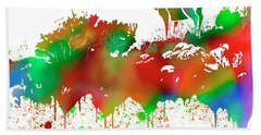 Mule Deer Buck Skyline Drip Pop Art II Bath Towel