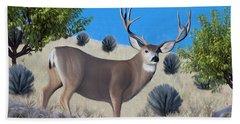 Mule Deer Trophy Buck Bath Towel by Walter Colvin