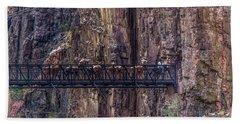 Mule Train On Black Bridge, Grand Canyon Bath Towel