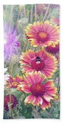 Multi Coloured Flowers With Bee Hand Towel by Lynn Bolt