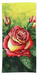 Multi Coloured Rose Sketch Hand Towel