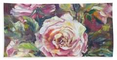 Hand Towel featuring the painting Multi-hue And Petal Rose. by Ryn Shell
