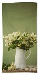 Multiflora Rose In A Rustic Vase Bath Towel