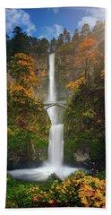 Multnomah Falls In Autumn Colors -panorama Hand Towel