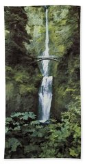 Hand Towel featuring the photograph Multnomah Falls Painterly by Diane Schuster