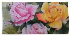 Hand Towel featuring the painting Mum's Roses by Sandra Phryce-Jones