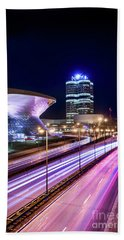 Munich - Bmw City At Night Bath Towel by Hannes Cmarits