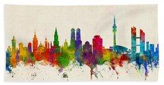 Munich Germany Skyline Bath Towel by Michael Tompsett