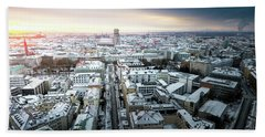 Munich - Sunrise At A Winter Day Bath Towel by Hannes Cmarits