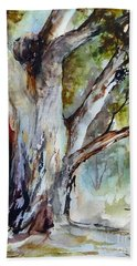 Hand Towel featuring the painting Murray River Gum, Cobram. by Ryn Shell