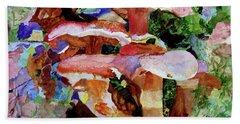Bath Towel featuring the painting Mushroom Garden by Sandy McIntire