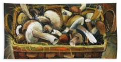 Hand Towel featuring the painting Mushrooms by Mikhail Zarovny