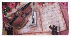 Music And Roses Hand Towel by Vesna Martinjak