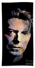 Hand Towel featuring the painting Music Legend 2 by Andrzej Szczerski
