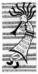 Bath Towel featuring the painting Music Man Kokopelli by Susie WEBER