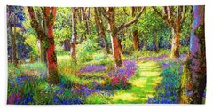 Hand Towel featuring the painting Music Of Light, Bluebell Woods by Jane Small
