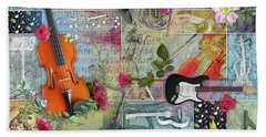 Musical Garden Collage Bath Towel