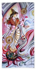 Musical Goddess Saraswati - Healing Art Bath Towel