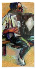 Bath Towel featuring the drawing Musician With Accordion by Stan Esson