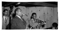 Music's Golden Era - Charlie Parker And Miles Davis 1947 Hand Towel