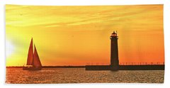 Muskegon Sunset Hand Towel by Michael Peychich