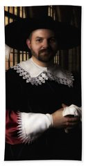 Musketeer In The Old Castle Hall Bath Towel