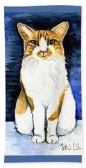 Mustached Bicolor Beauty - Cat Portrait Hand Towel