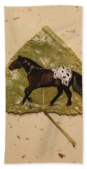 Mustang Appaloosa On Poplar Leaf Hand Towel by Ralph Root