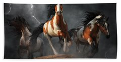 Hand Towel featuring the digital art Mustangs Of The Storm by Daniel Eskridge