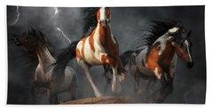 Bath Towel featuring the digital art Mustangs Of The Storm by Daniel Eskridge