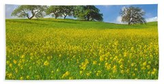 Hand Towel featuring the photograph Mustard Field by Mark Greenberg