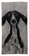 Mutts Original Dog Portrait Painting Hand Towel by Gray Artus