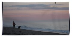 My Best Friend And The Beach Hand Towel by Robert Banach
