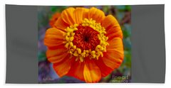 My Bit Of Orange Zinnia Heaven Bath Towel by Kimberlee Baxter