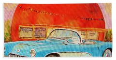 Hand Towel featuring the painting My Blue Corvette At The Orange Julep by Carole Spandau