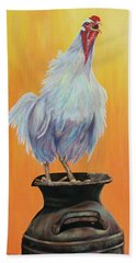 Bath Towel featuring the painting My Crazy Chicken by Susan DeLain