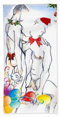 Bath Towel featuring the mixed media My Daddy Christmas - Male Nudes by Carolyn Weltman