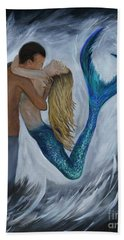 Hand Towel featuring the painting My Dream Mermaid by Leslie Allen