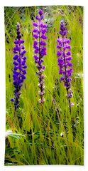 Bath Towel featuring the photograph My Five Lupines by Jennifer Lake
