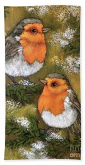 Bath Towel featuring the painting My Friends Robins by Inese Poga