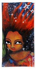 Bath Towel featuring the mixed media My Hair Is Being Pulled By The Stars  by Prerna Poojara