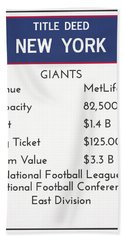 My Nfl New York Giants Monopoly Card Hand Towel