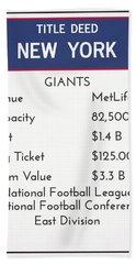 My Nfl New York Giants Monopoly Card Bath Towel