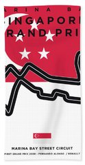 My Singapore Grand Prix Minimal Poster Bath Towel