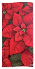 Bath Towel featuring the painting My Very Red Poinsettia by Inese Poga